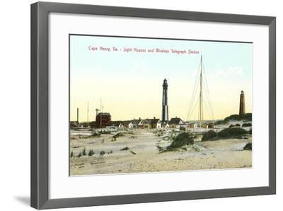 Cape Henry Lighthouses--Framed Art Print