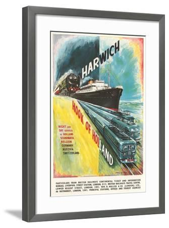 Harwich to Hook of Holland Travel Poster--Framed Art Print