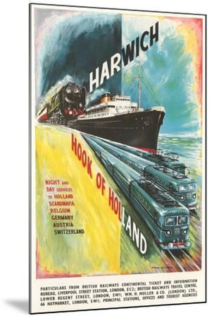 Harwich to Hook of Holland Travel Poster--Mounted Art Print