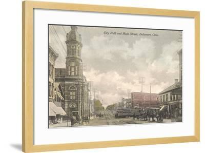 Main Street, City Hall, Delaware, Ohio--Framed Art Print