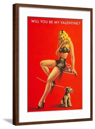 Will You Be My Valentine? Pin-Up on Red--Framed Art Print
