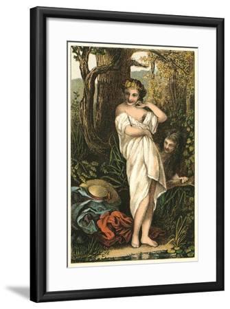 Bather and Voyeur--Framed Art Print
