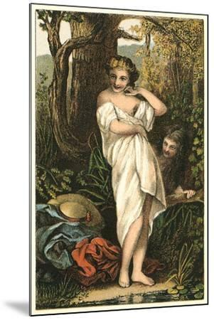 Bather and Voyeur--Mounted Art Print