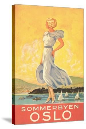 Oslo Travel Poster--Stretched Canvas Print