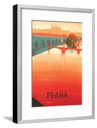 Prague Travel Poster--Framed Premium Giclee Print