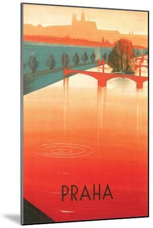 Prague Travel Poster--Mounted Premium Giclee Print