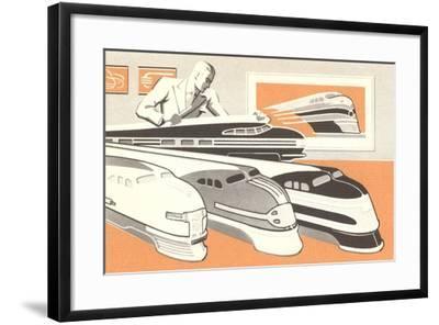 Streamlined Trains--Framed Art Print