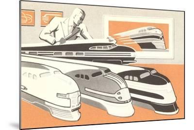 Streamlined Trains--Mounted Art Print