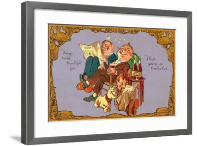 Thankful to Be a Bachelor--Framed Art Print
