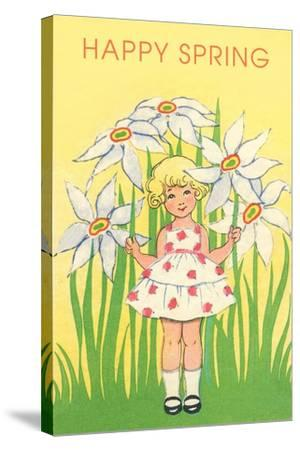 Happy Spring, Cute Little Girl with Big White Flowers--Stretched Canvas Print