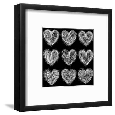 Hearts Chalkboard, Love Background and Texture-homobibens-Framed Art Print
