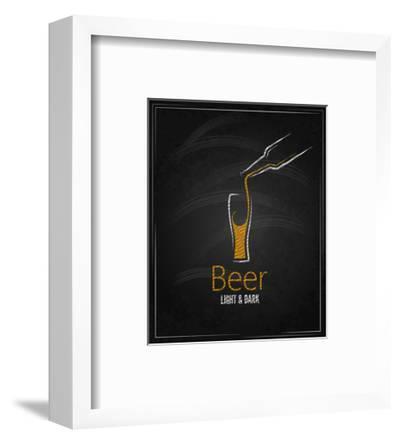 Beer Glass Chalkboard Menu Background-Pushkarevskyy-Framed Art Print