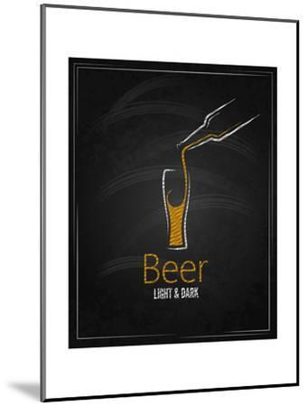 Beer Glass Chalkboard Menu Background-Pushkarevskyy-Mounted Art Print