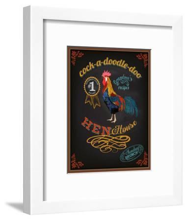 Chalkboard Poster for Chicken Restaurant-LanaN.-Framed Art Print