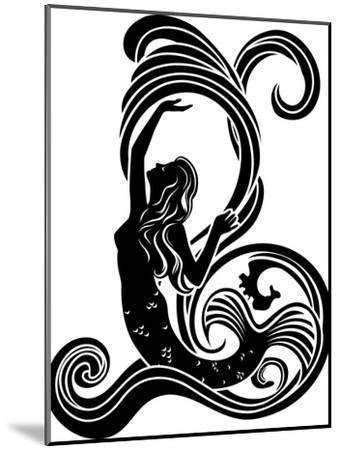 Mermaid in Waves-kristina0702-Mounted Art Print