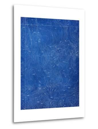 Topographical Blueprint Pattern-yobro-Metal Print