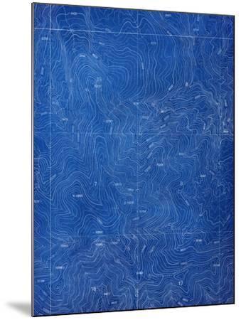 Topographical Blueprint Pattern-yobro-Mounted Art Print