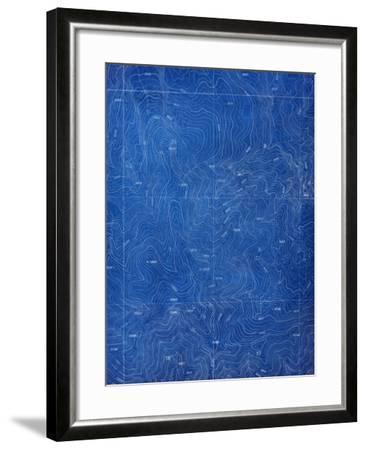 Topographical Blueprint Pattern-yobro-Framed Art Print