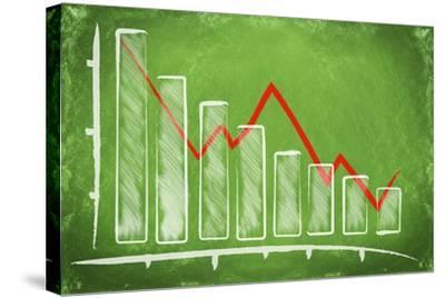 Declining Bar Chart Drawn on a Green Chalkboard-Viorel Sima-Stretched Canvas Print