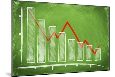 Declining Bar Chart Drawn on a Green Chalkboard-Viorel Sima-Mounted Art Print