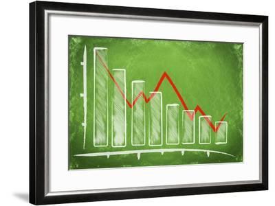 Declining Bar Chart Drawn on a Green Chalkboard-Viorel Sima-Framed Art Print