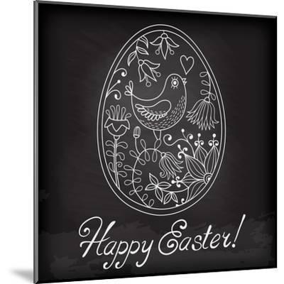 Easter Egg Drawn by Hand-Baksiabat-Mounted Art Print