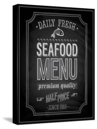 Seafood Poster Chalkboard-avean-Stretched Canvas Print