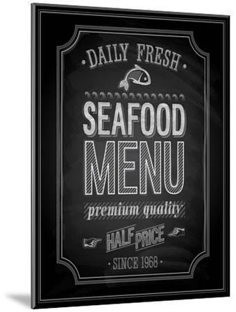 Seafood Poster Chalkboard-avean-Mounted Art Print