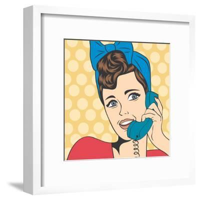 Woman Chatting on the Phone, Pop Art Illustration-Eva Andreea-Framed Art Print