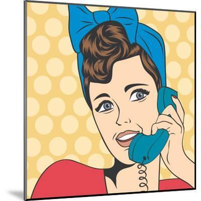 Woman Chatting on the Phone, Pop Art Illustration-Eva Andreea-Mounted Art Print