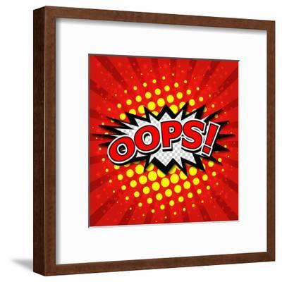 Oops! - Commic Speech Bubble, Cartoon-jirawatp-Framed Art Print