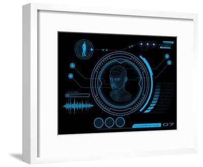 Futuristic User Interface HUD- clusterx-Framed Art Print