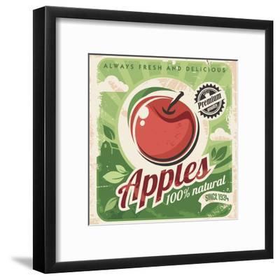 Apples Retro Poster-Lukeruk-Framed Art Print