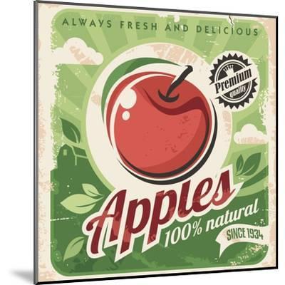 Apples Retro Poster-Lukeruk-Mounted Art Print