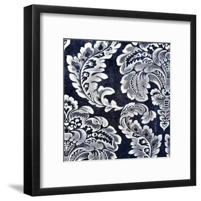 Abstract Blue Background or Paper with Grunge Background Texture with White Floral Patterns-iulias-Framed Art Print