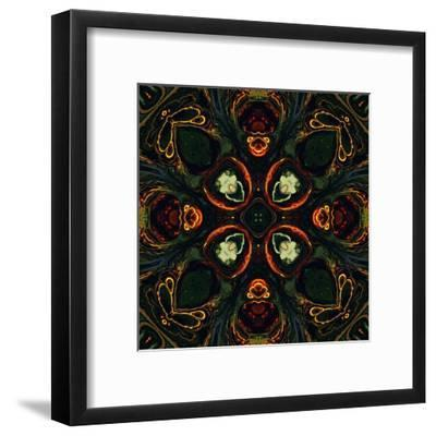 Art Nouveau Ornamental Vintage Pattern in Green and Red Colors-Irina QQQ-Framed Art Print