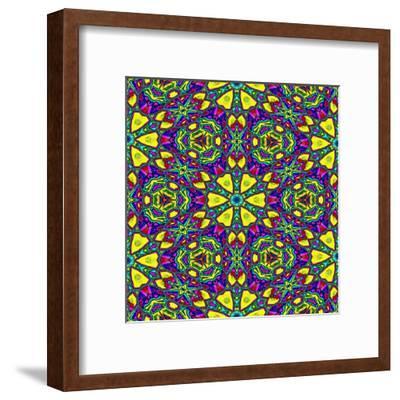 Floral Kaleidoscope Pattern-PandaWild-Framed Art Print