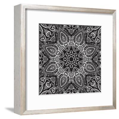 Lace Background: White on Black, Mandala-Katyau-Framed Art Print
