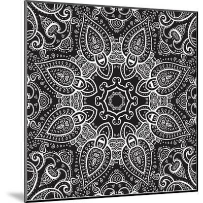 Lace Background: White on Black, Mandala-Katyau-Mounted Art Print