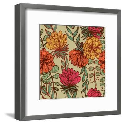 Hand Drawn Vintage Floral Pattern-tairen-Framed Art Print