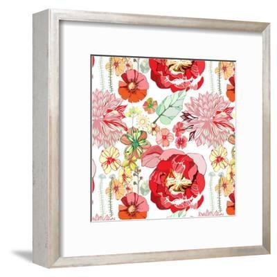 Pattern with Red Flowers- UyUy-Framed Art Print