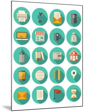 Business and Finance Modern Icons Set-bloomua-Mounted Art Print