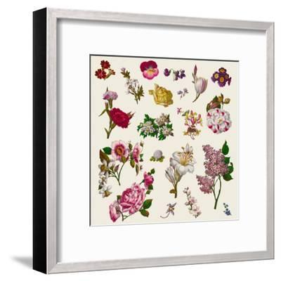 Vintage Victorian Flowers Clip Art-Karimala-Framed Art Print