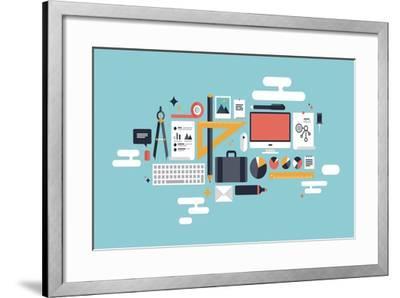 Illustration of Business Working Elements-bloomua-Framed Art Print
