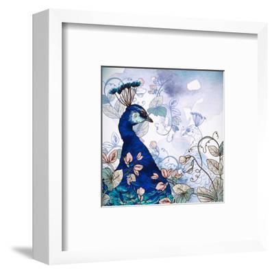 Floral Background with Peacock-Varvara Kurakina-Framed Art Print