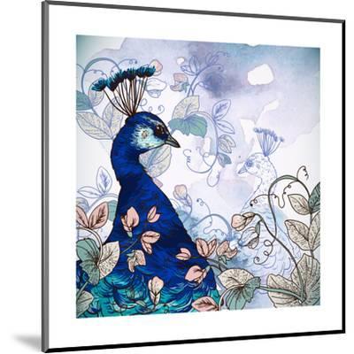 Floral Background with Peacock-Varvara Kurakina-Mounted Art Print