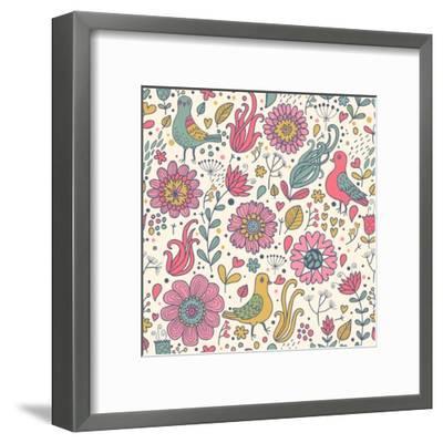 Pigeons in Flowers-smilewithjul-Framed Art Print