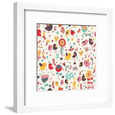 Romantic Floral Pattern with Cute Small Birds in the Garden-smilewithjul-Framed Art Print