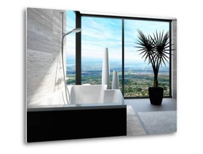 Modern Bathtub in a Bathroom Interior with Floor to Ceiling Windows with Panoramic View-PlusONE-Metal Print