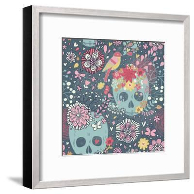 Mexican Concept Background with Flowers, Skulls and Birds-smilewithjul-Framed Art Print